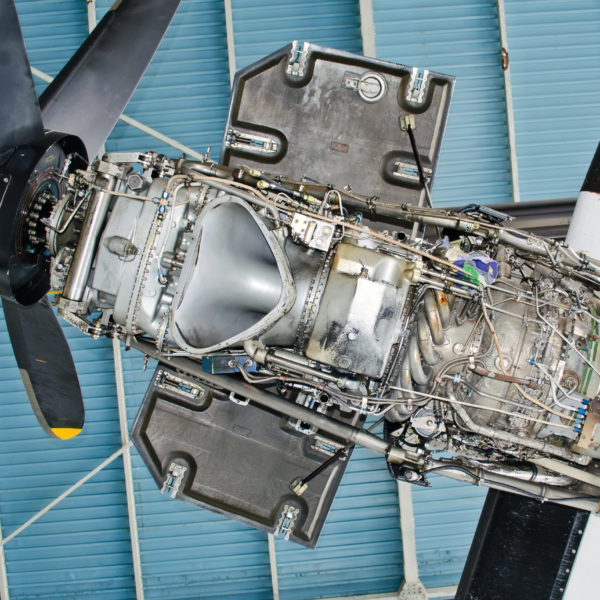 Turboprop engine of the aircraft for repair, maintenance